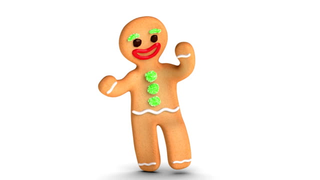 Gingerbread Man is Dancing Happy gingerbread man is dancing against white background. Alpha Channel added. cookie stock videos & royalty-free footage