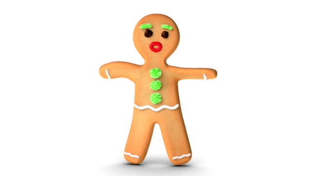 Gingerbread Man is Exercising Gingerbread man is exercising against white background. Alpha Channel added. gingerbread man stock videos & royalty-free footage