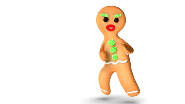 Gingerbread Man is Practicing Kung Fu Dangerous gingerbread man is at Kung Fu exercise against white background. Alpha Channel added.  gingerbread man stock videos & royalty-free footage