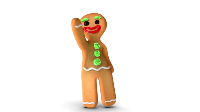 Gingerbread Man is Waving Gingerbread man is waving against white background. Alpha Channel added. gingerbread man stock videos & royalty-free footage