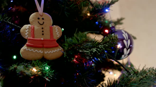 Gingerbread man on Christmas tree with christmas ball Gingerbread man on Christmas tree with christmas ball FullHD gingerbread man stock videos & royalty-free footage