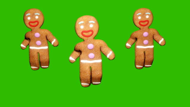 pepparkakor män dansar i mitten av en festlig julbord. begreppet av berömmen. loopas animering framför grön skärm. - pepparkaka bildbanksvideor och videomaterial från bakom kulisserna