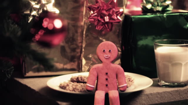Gingerbreadman & Snowman Animated Holiday Scenes gingerbread man stock videos & royalty-free footage
