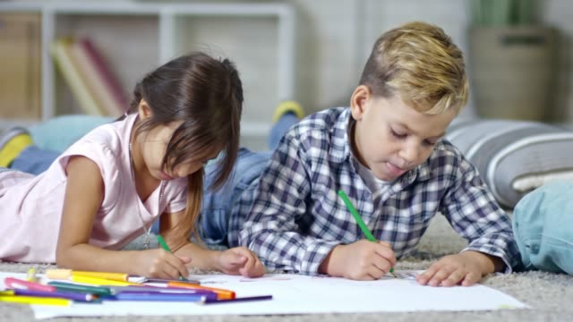 Girl and Boy Drawing Picture video