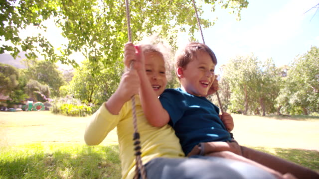 Girl and boy having fun as team to swing high video