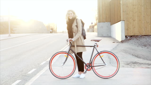 Girl and her bike in the sunset video