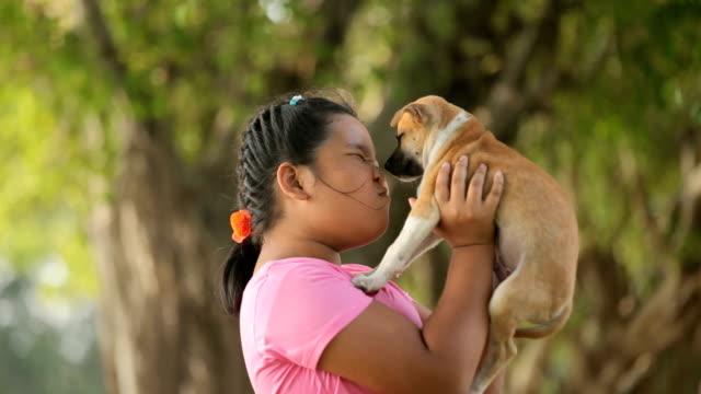 девочка и щенок в саду - молодое животное стоковые видео и кадры b-roll