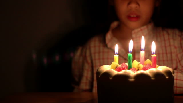 Girl blowing birthday cake candles video