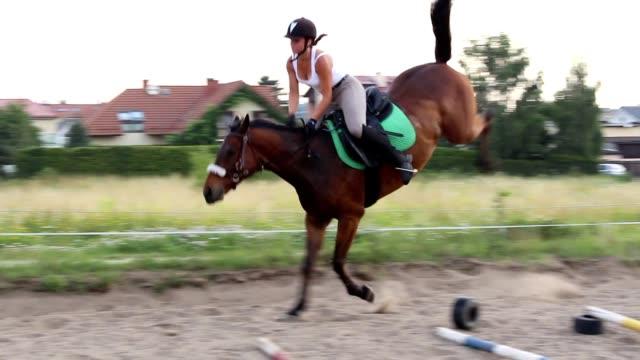 Chica los recesos en un caballo - vídeo