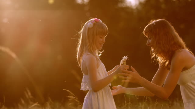 SLO MO Girl bringing flowers to mother at sunset Slow motion  medium dolly shot of a little girl brining flowers to her mother and they hug each other in the meadow at sunset. giving stock videos & royalty-free footage