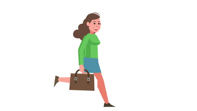 Girl Character Running with Briefcase Business Isolated Cartoon Animation