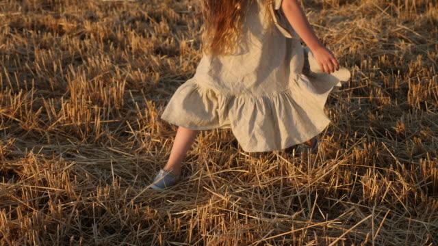 girl child in a dress runs through a mown