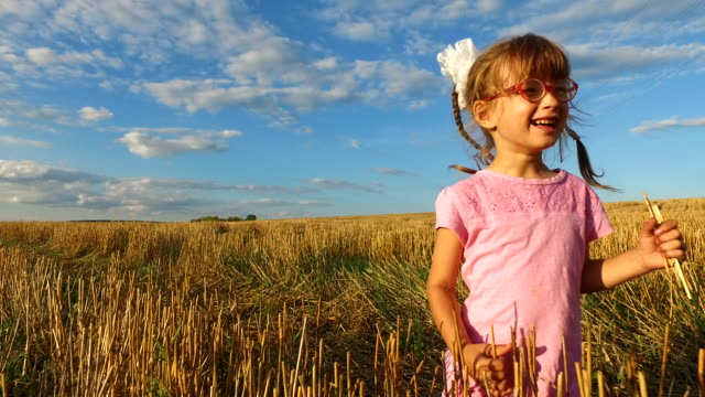 Girl child in glasses collects straw on the field. She takes away the stalks of straw on the already harvested field. video