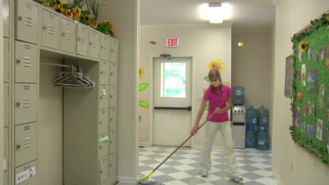 Girl Cleaning School video