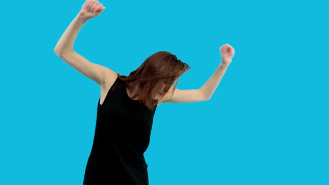 Girl Dancing Isolated on Blue video