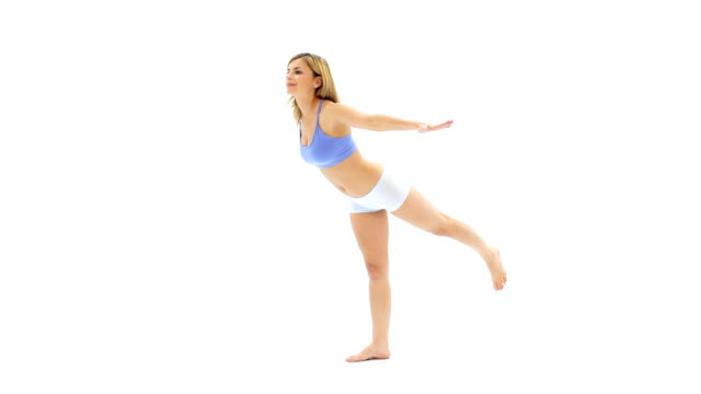 Girl doing yoga exercises. video