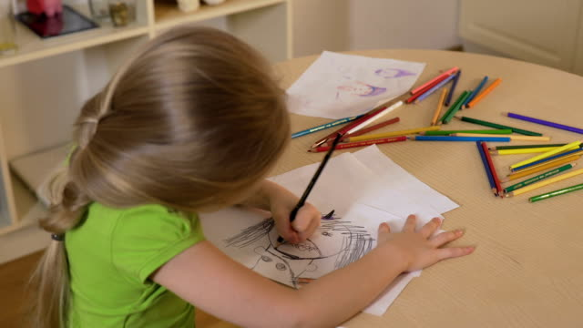 Girl drawing monster with black pencil, childhood fears, psychological problems video