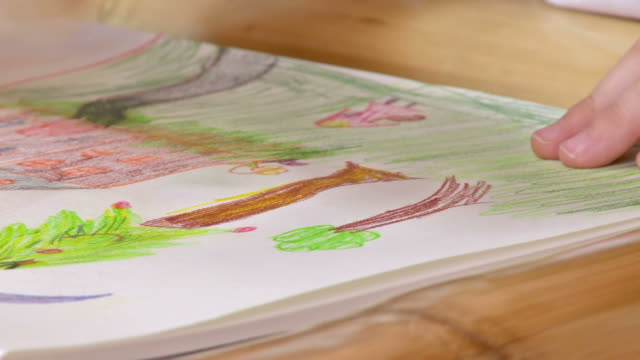 HD: Girl Drawing Trees HD1080p: CLOSE-UP shot of little girl's hands drawing trees on a paper at the table. playroom stock videos & royalty-free footage