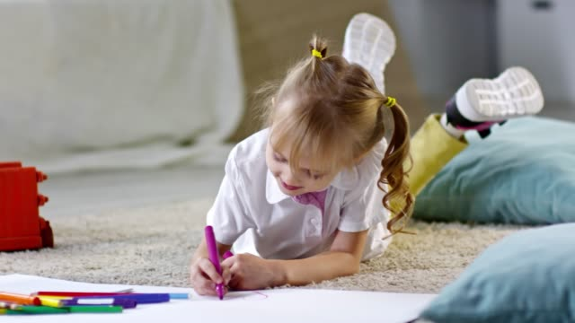 Girl Drawing with Felt Tip Pens video