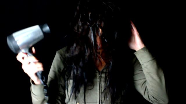 Girl dries her hair video