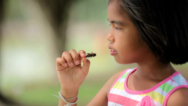 Girl eating bugs food video