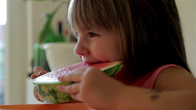 Girl eating watermelon video