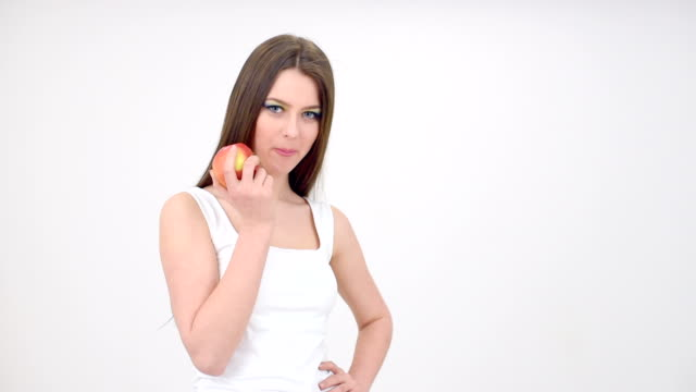 girl eats apple - young singles stock videos & royalty-free footage