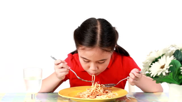 Girl eatting spaghetti MONTAGE. HD 1080P : Girl eating spaghetti Multi Shot. spaghetti stock videos & royalty-free footage