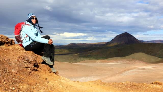 Girl enjoys stunning views of Icelandic landscapes video