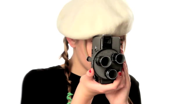 Girl filming using old camera. video