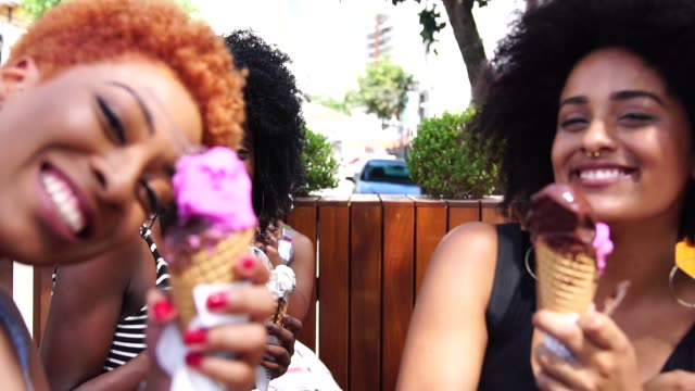 Girl Friends Taking a Selfie eating Ice Cream video