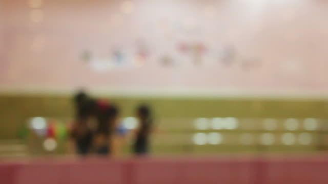 Girl group practice ballet in room,blur motion style video