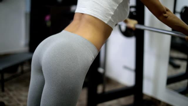 Girl hard training in gym video