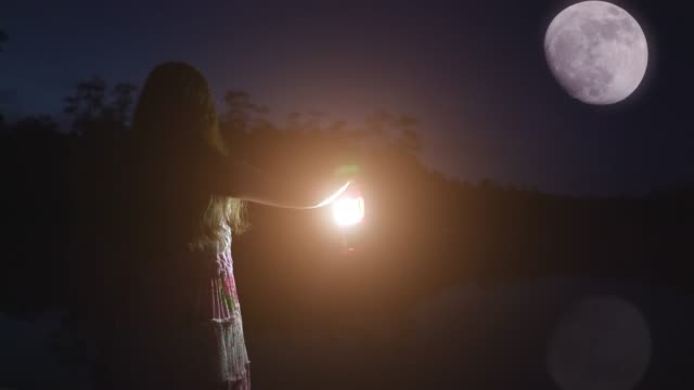Girl holding a lantern, looking at the moon.