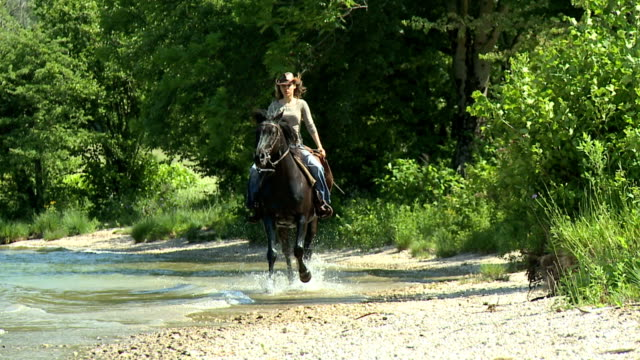 HD SLOW-MOTION: Girl horseriding and lose her hat video