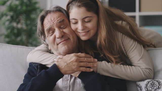 Girl hugging her father with love video