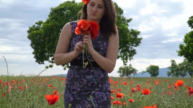 Girl in a blue dress at a poppy flower garden