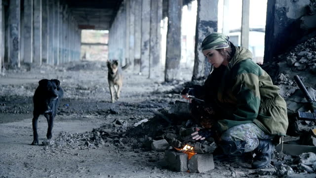 girl in military uniform, in a ruined building video