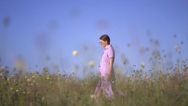 紫色のドレスを着た女の子は、フィールドの花でフィールドを歩きます ビデオ