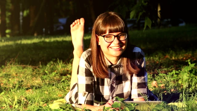 Girl is Relaxing in the Park video