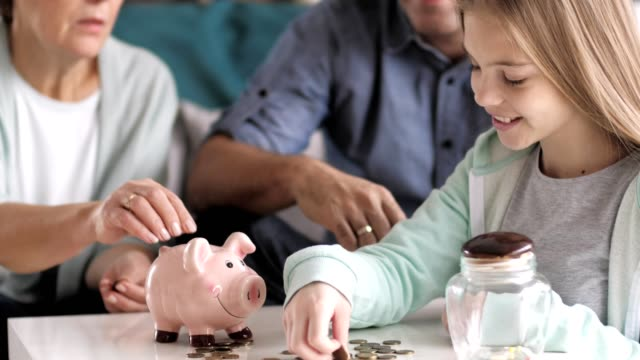 Girl learning to save money