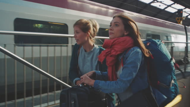 Girl leaving with train
