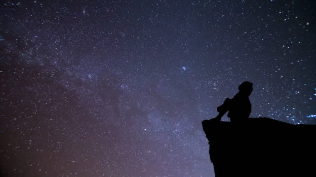 ragazza guarda al cielo notturno con la meteora - astronomia video stock e b–roll