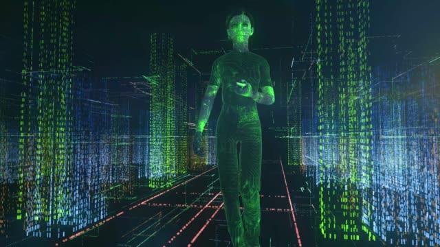 mädchen blick auf smartphone in einer geschäftigen stadt künstliche montage digital - montage filmtechnik stock-videos und b-roll-filmmaterial