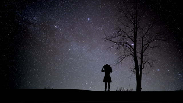 ragazza che guarda night stars time lapse con doccia meteorica - astronomia video stock e b–roll