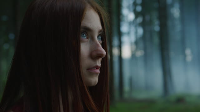 girl looking up - woman portrait forest video stock e b–roll