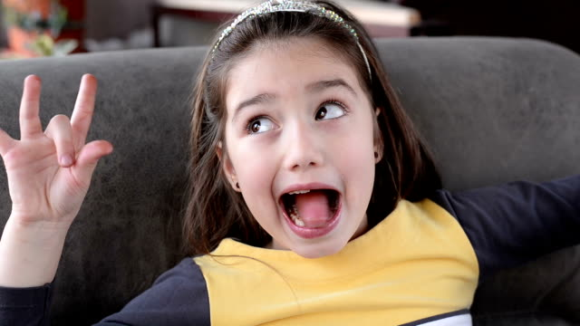 Girl making a face video