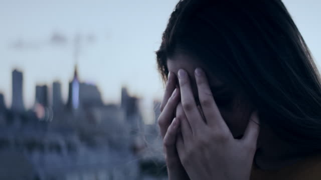 Girl on a rooftop. Depression
