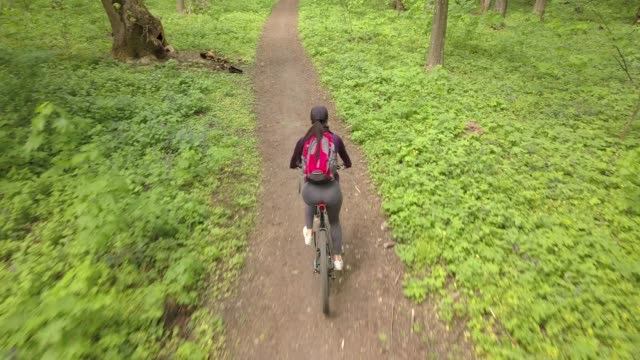 A girl on a touring bicycle in the forest on a bicycle trip