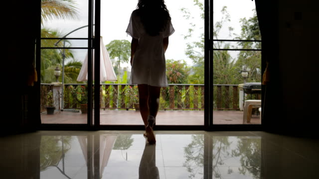 Girl Open Balcony Go Out To Terrace Back Rear View, Morning View Of Tropic Forest video